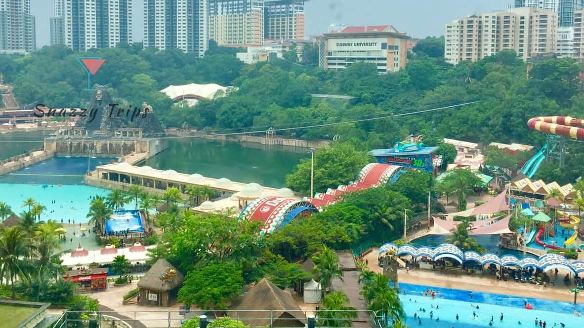 water theme park, trees and buildings