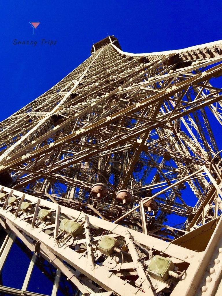 close up of lattice work of the Eiffel Tower