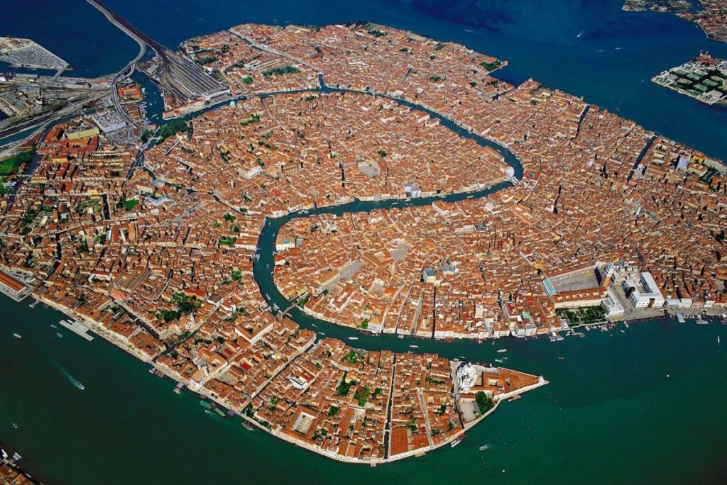 aerial view of Venice lagoon