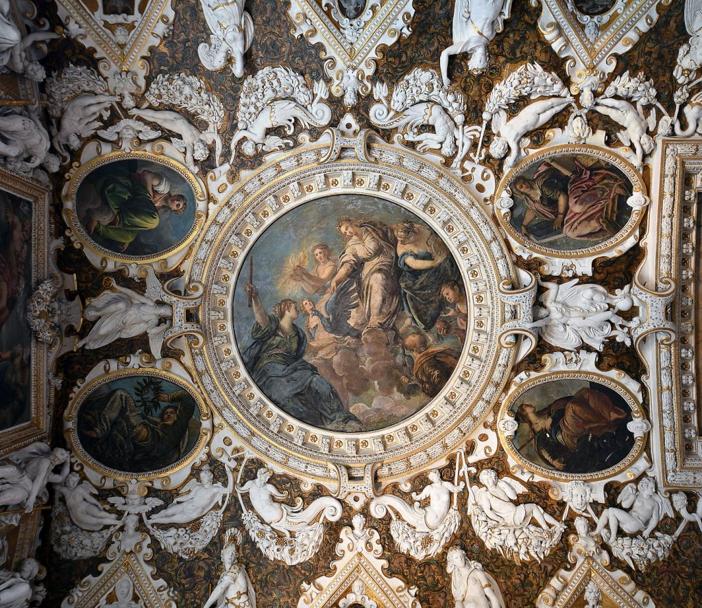 1386px Doges Palace Venice Left ceiling of the Sala delle Quattro Porte Snazzy Trips travel blog