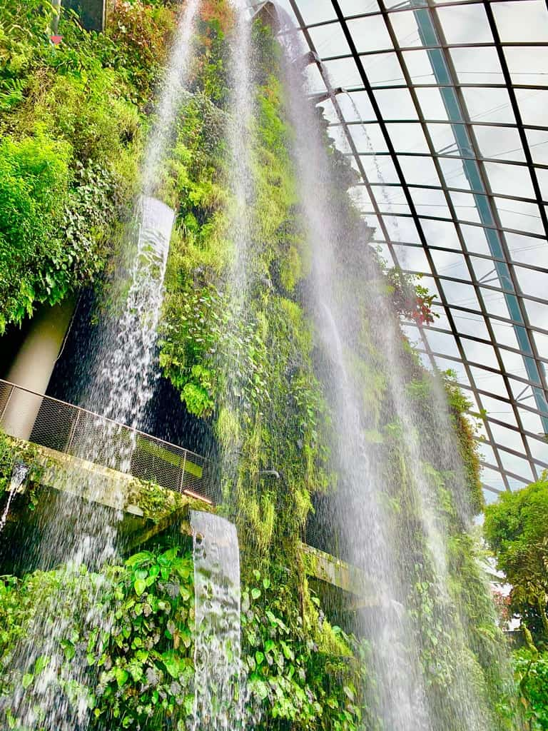 Indoor waterfall at Cloud Forest Dome Singapore